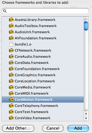 Adding Core Motion Framework